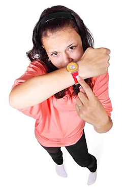 Girl pointing at her watch