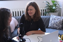 Podcast interview between two women image