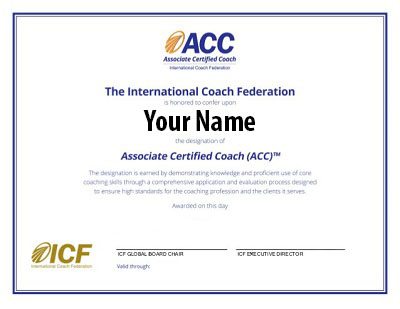 Associate Certified Coach certificate sample