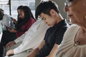 Bored man in a seminar image