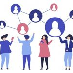 Characters of people and their social network illustration image