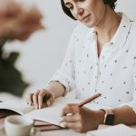 Woman writing a book image