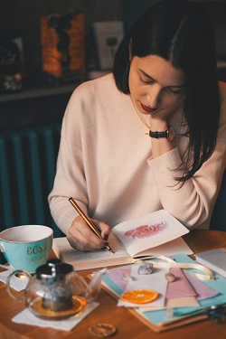 Woman creating the wheel of life image