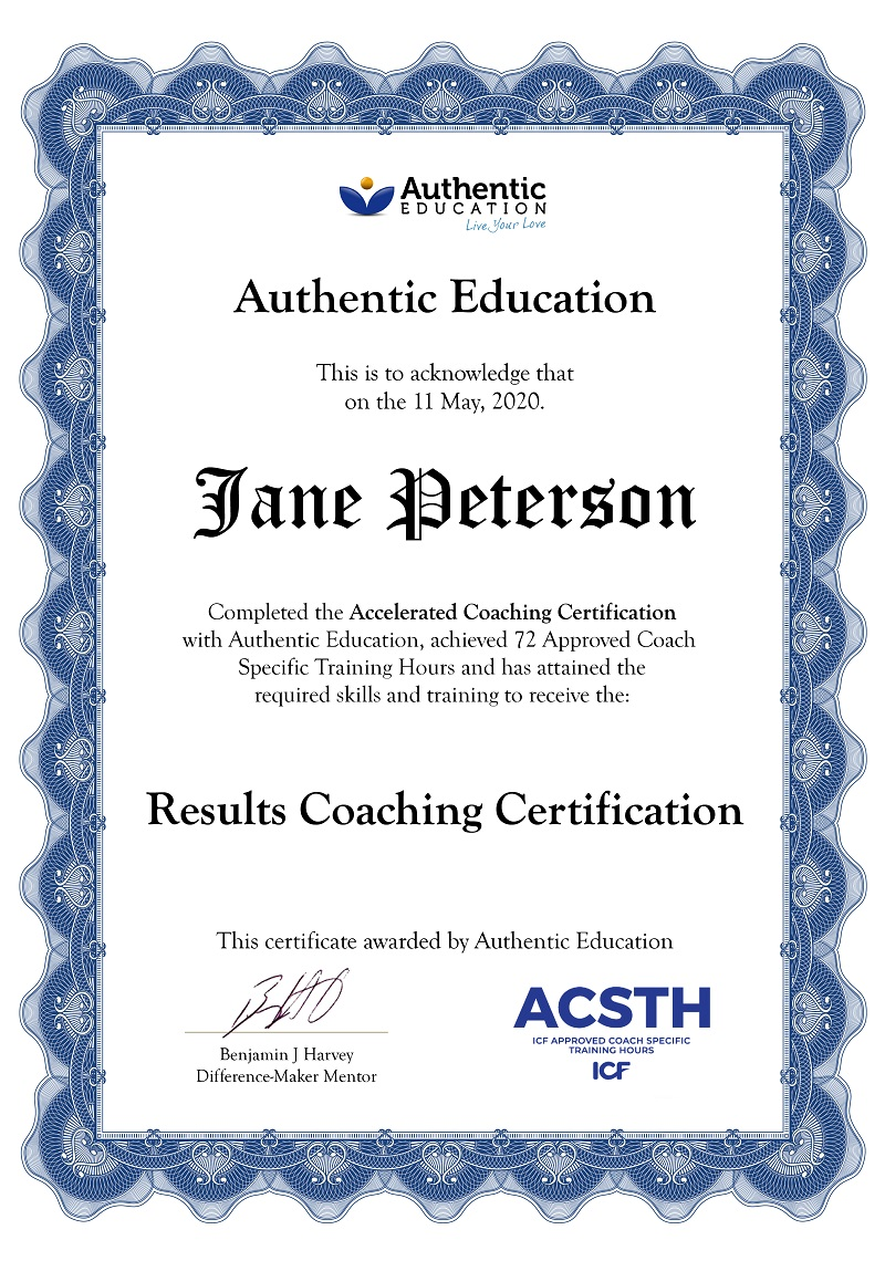 Results Coaching Certification sample