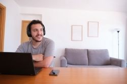 Man listening to his favourite podcast image